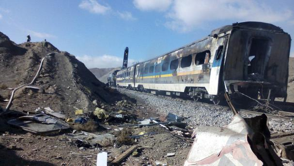 The scene of the collision about 150 miles east of the capital Tehran (Fars News Agency/AP)