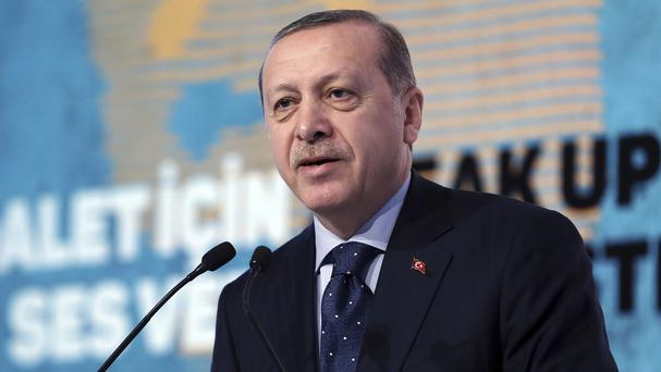 Recep Tayyip Erdogan accused the European Union of dishonesty and betrayal (Presidential Press Service/AP)