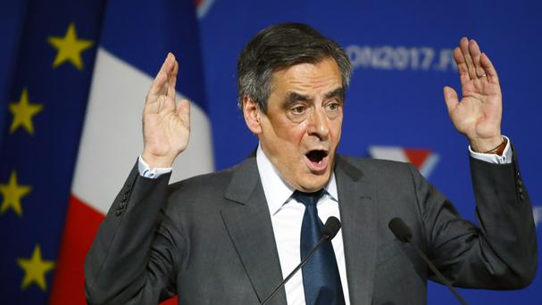 Francois Fillon speaking at a rally in Paris (AP)