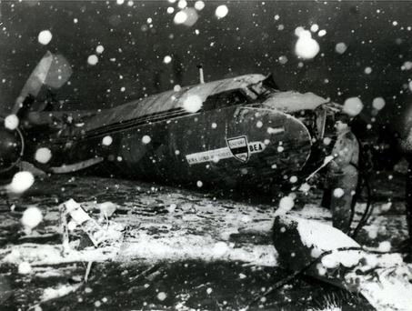 The wreckage of the British European Airways plane which crashed in Munich in February 1958