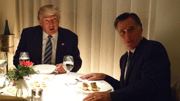 President-elect Donald Trump has dinner with Mitt Romney in New York (AP)