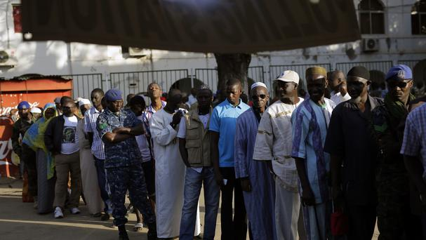 Gambians line up to vote in Banjul (AP)