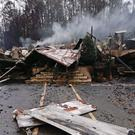 The remains of the Alamo Steak House in Gatlinburg, Tennessee (AP)