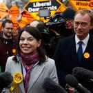 Liberal Democrats winner of the Richmond Park by-election, Sarah Olney, celebrates her victory with party leader Tim Farron on Richmond Green in London.