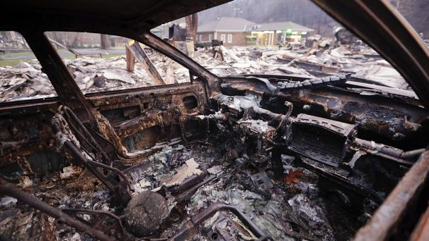 A wildfire destroyed or damaged more than 1,700 buildings at the foot of the Great Smoky Mountains (AP)