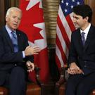 Joe Biden meets Justin Trudeau on Parliament Hill in Ottawa (Canadian Press/AP)