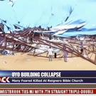 TV footage from the scene after the roof of the Reigners Bible Church International collapsed onto worshippers (Channels TV/AP)