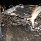 The wreckage of a passenger minibus following an accident near Naivasha (AP)