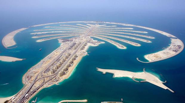 The fire broke out on the man-made Palm Jumeirah island