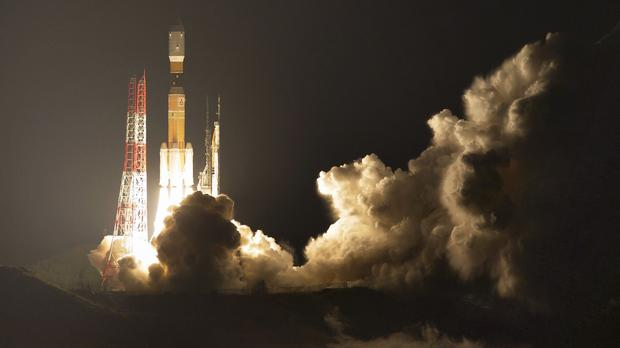 Japan's H-IIB rocket with a capsule called Kounotori, or stork, lifts off at the Tanegashima Space Centre (AP)