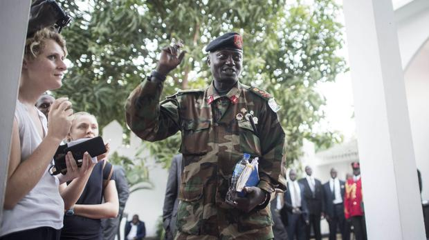 Gambia Army Chief Ousmane Badj arrivse for a meeting with Ecowas delegation in Banjul. (AP/ Sylvain Cherkaoui)