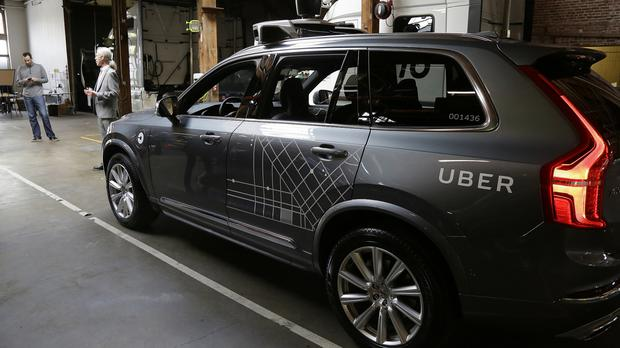 An Uber driverless car in a garage in San Francisco, before the company pulled its self-driving cars from California roads (AP)