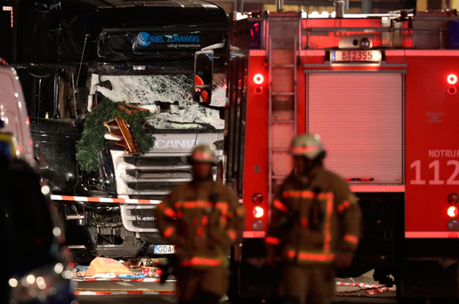 The killer's truck after it ploughed through a Christmas market on December 19, 2016 in Berlin