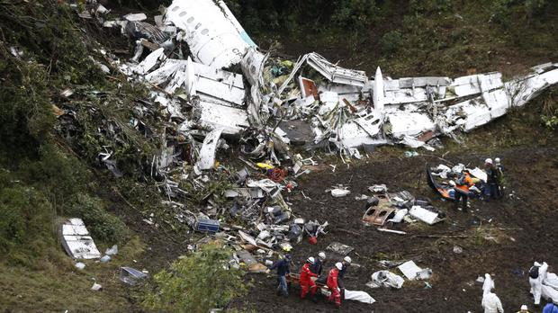 The plane that crashed with a Brazilian football team on board had run out of fuel, a preliminary investigation has found. (AP/Fernando Vergara)