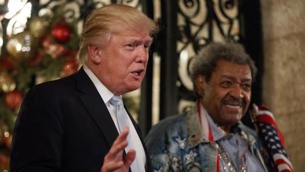 Donald Trump appears with boxing promoter Don King at his Mar-a-Lago club in Palm Beach, Florida (AP)
