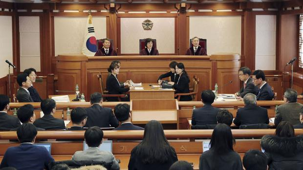 South Korea's Constitutional Court holds a preparatory meeting to review the impeachment of President Park Geun-hye on corruption charges (Yonhap/AP)