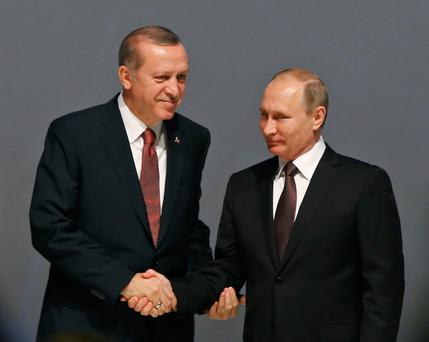 A SHAKY PEACE IS BETTER THAN NONE: Turkey's President Recep Tayyip Erdogan and Russian President Vladimir Putin. Pic: AP