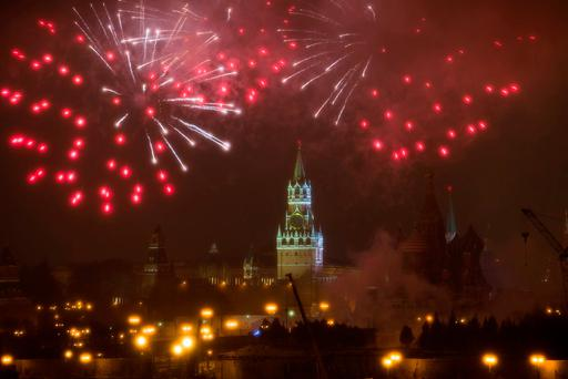 Fireworks explode over the Kremlin, during the New Year celebration in Moscow, Russia, Sunday, Jan. 1, 2017. New Year's Eve is Russia's major gift-giving holiday, and big Russian cities were awash in festive lights and decorations. (AP Photo/Denis Tyrin)