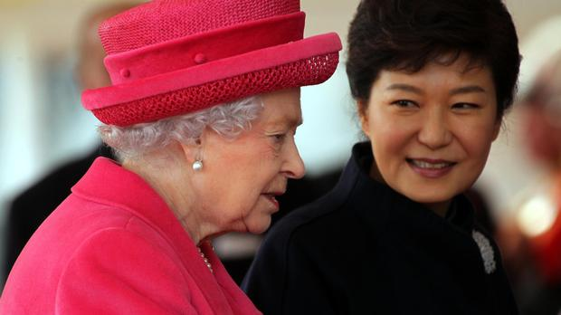 South Korean president Park Geun-hye, pictured with the Queen during a state visit to Britain in 2013, was impeached last month over the corruption scandal