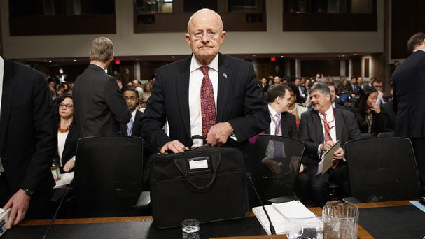 Director of National Intelligence James Clapper arrives on Capitol Hill in Washington (Evan Vucci/AP)