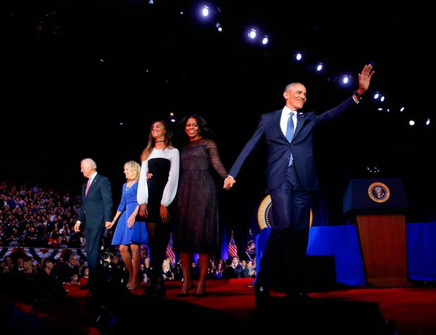 President Barack Obama waves on stage with first lady Michelle Obama, daughter Malia, Vice President Joe Biden and his wife Jill Biden after his farewell address at McCormick Place in Chicago, Tuesday, Jan. 10, 2017. (AP Photo/Pablo Martinez Monsivais)