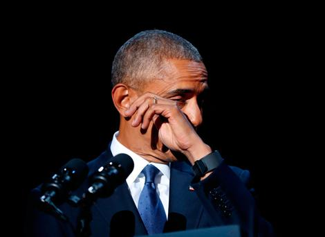 US President Barack Obama wipes away tears while speaking during his farewell address at McCormick Place in Chicago, Tuesday, Jan. 10, 2017. (AP Photo/Pablo Martinez Monsivais)