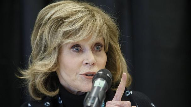 Jane Fonda speaks at a press conference for indigenous rights in Edmonton Alta during her trip (The Canadian Press/AP)