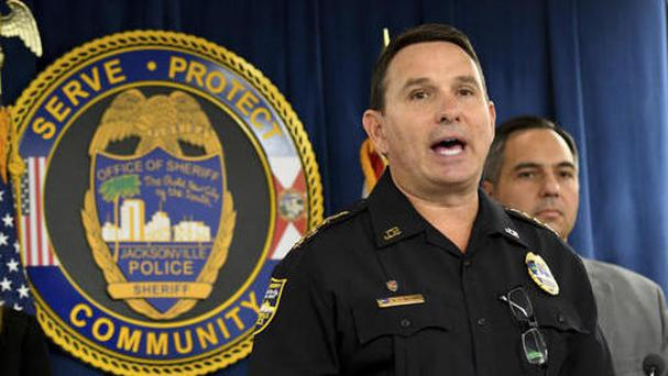 Jacksonville sheriff Mike Williams announces Kamiyah Mobley has been found alive and well (Bob Mack/The Florida Times-Union via AP)