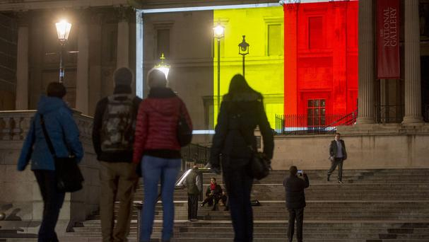 The National Gallery in London was lit in the colours of the Belgian flag after the Brussels terror attacks