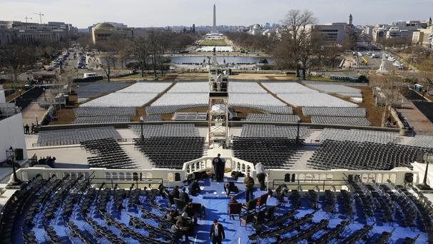 A rehearsal of the swearing-in ceremony for President-elect Donald Trump took place on Sunday (Patrick Semansky/AP)
