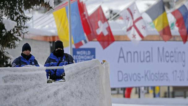 Swiss police officers on guard in Davos (AP/Michel Euler)