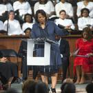 Bernice King speaking at Ebenezer Baptist Church in Atlanta (AP/Branden Camp)