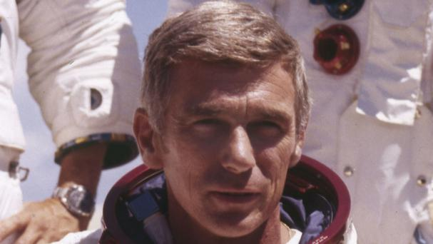 Gene Cernan pictured in his space suit - the former astronaut has died aged 82 (Nasa/AP)