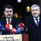 Istanbul Governor Vasip Sahin, left, accompanied by Police Chief Mustafa Caliskan, talk to the media during a news conference in Istanbul (AP)
