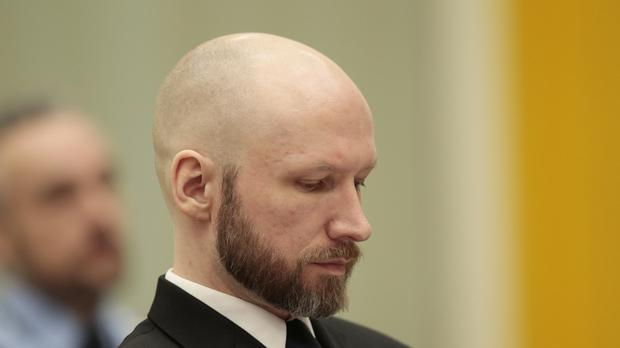 Anders Breivik sits in court on the third day of the appeal case in Borgarting Court of Appeal at Telemark prison in Skien, Norway (Lise Aaserud/NTB Scanpix via AP)