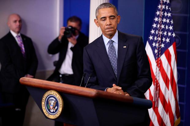Barack Obama holds the last news conference of his presidency at the White House yesterday. Photo: Getty