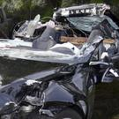 A Tesla Model S that was being driven by Joshua Brown (NTSB via Florida Highway Patrol via AP)