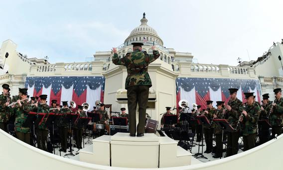 The United States Marine Corps Band practices in front of the podium where US President-elect Donald Trump will take the oath of office. Photo: Getty