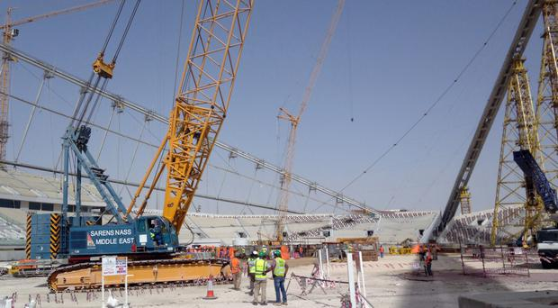 Construction work at the Khalifa Stadium in Doha, Qatar (AP)
