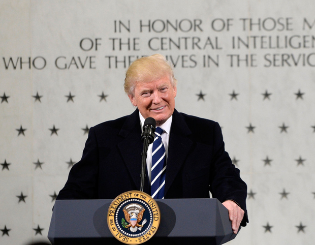 US president Donald Trump at CIA headquarters in Langley, Virginia, yesterday Photo: Getty Images