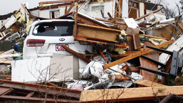 Storms destroyed half of mobile homes in a park in south Georgia (AP Photo/Rogelio V Solis)