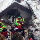 Police officers carry to safety three puppies found in the rubble of the avalanche-hit Hotel Rigopiano (Alessandro Di Meo/ANSA via AP)
