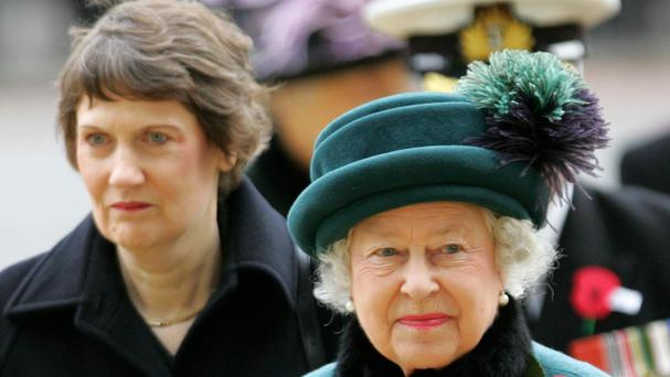 Helen Clark pictured with the Queen at the dedication of the New Zealand Memorial in Hyde Park, in 2014