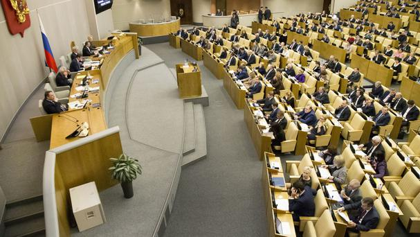 The State Duma voted 380-3 to eliminate criminal liability for battery on family members which does not cause bodily harm (AP)