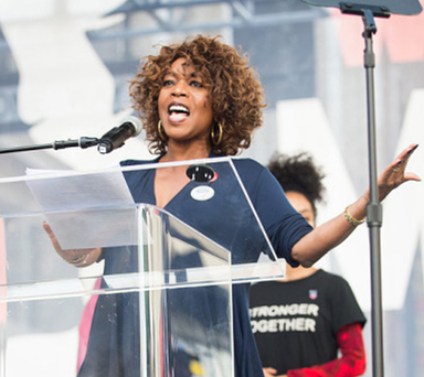 TWO-PRONGED APPROACH: Actress Alfre Woodard speaking at the women's march protest in Los Angeles last week