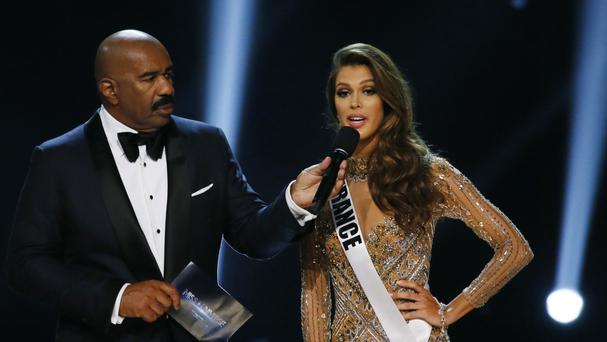 Miss France Iris Mittenaere during the question-and-answer section of the Miss Universe competition in the Philippines, which she won (AP Photo/Bullit Marquez)