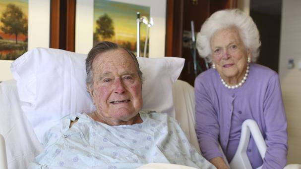 Former President George HW Bush and his wife Barbara pose for a photo at Houston Methodist Hospital. (Courtesy the Office of George HW Bush via AP)