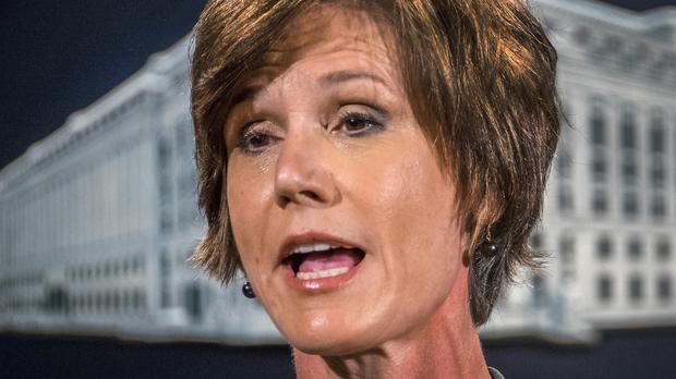 Sally Yates was fired by Donald Trump as acting Attorney General Sally Yates after she ordered Justice Department lawyers to stop defending the refugee ban (AP Photo/J. David Ake, File)
