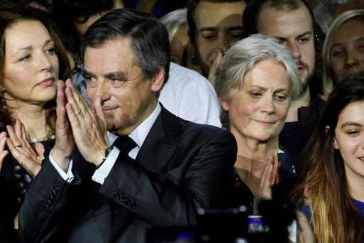 François Fillon and his wife Penelope at a political rally in Paris, France, earlier this week. Photo: Pascal Rossignol/Reuters