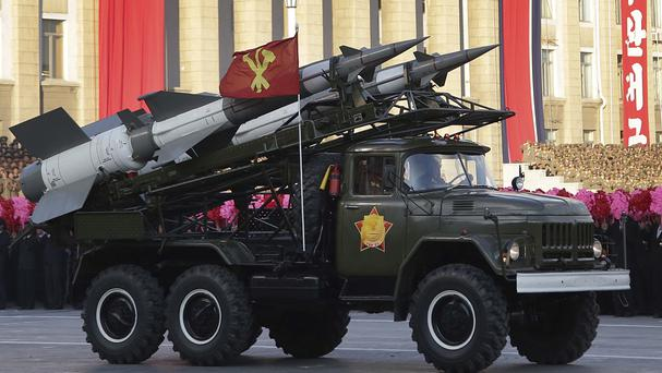 A vehicle loaded with North Korean missiles during a mass military parade in Pyongyang, as it was reported that the country's security chief has been sacked (AP Photo/Wong Maye-E, File)